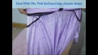 asian babe masturbating whilte watching porn on webcam chat