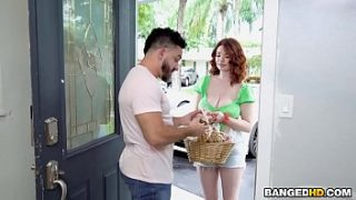 big boobs redhead trying to sell her cookies
